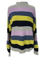NWT Allie & Rob Striped Knit Mock Neck Boxy Sweater Women's Size Petite XL