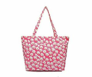 76182  Pink Daisy Print Canvas Shopper/Beach Bag