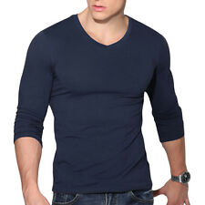 Fashion Men's Casual V-Neck Long Sleeve Shirts Slim Fit T-Shirt Tops Blouse Tee