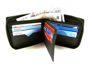 Mens New RFID Blocking Black Leather Zip Around Credit Card Holder Wallet Purse