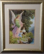 Vintage Framed Guardian Angel Watching over Children getting their ball Print