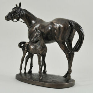 Mare & Foal Horse Cold Cast Bronze Sculpture / Figurine By David Geenty.