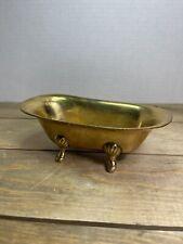 Vintage Brass Miniature Clawfoot Tub Soap Dish Doll House Planter Trinket Dish