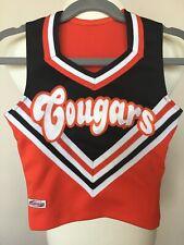 Girls Cougars Black Orange White Cheer Leading Top Shirt Costume Halloween Small