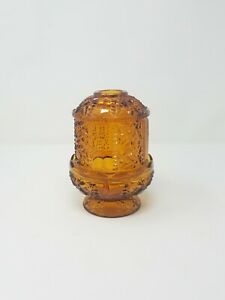 Vtg Indiana Verre Fairy Lampe Ambre Stars / Barres Coupe Recouvert Bougeoir