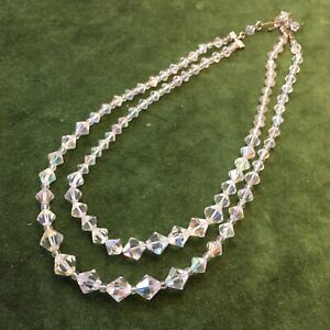 1950s Necklace Twin Strand Crystal Aurora Borealis Glass 1960s Vintage Clear