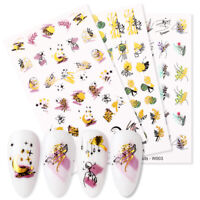 Nail Water Decals Gold Colorful Flower Pattern Nail Art Transfer Stickers Decor