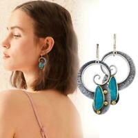 Elegant Metal Drop Dangle Earrings Turquoise Spiral Earrings Top Pendant T3K1
