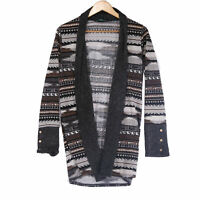 P.S. Kate Women's Gray Aztec Southwest Open Front Cardigan Sweater - Size Small