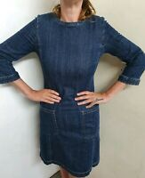 Max Mara Weekend Stretchy Denim Dress Size 10 With Pockets, zip up back