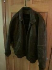 Leather Bomber Jacket, Context, Large, Brown, L