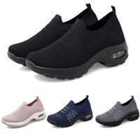 Womens Air Cushion Sport Running Sneakers Comfortable Mesh Walking Slip-On Shoes