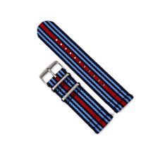 Two-Piece 22mm Martini Racing Inspired Strap Nylon Watch Band