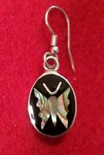 Sterling Silver and Butterfly Abalone Inlay French Hook Earrings