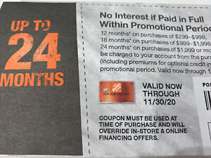 Home Depot (In Store Or Online) Coupon Up To 24 Months No Interest