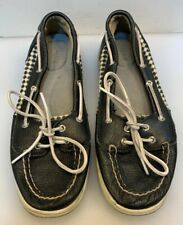 Sperry Top-Sider Women 8.5 M Angelfish Boat Shoes Navy Blue Leather Geometric