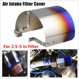 Universal Cold Air Intake Filter Cover Stainless Steel Blue Heat Shield Cover