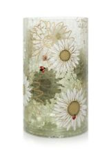 Yankee Candle Ladybug Crackle Daisies Large Glass Candle Holder Pillar Gift
