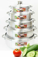 High Quality Aluminium pots Cooking Pots Set, 5 pcs with metal lids
