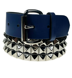 """STUDDED PYRAMID 38MM 3 ROW MENS WOMENS 1.5"""" INCH REAL LEATHER BELT MADE IN UK"""