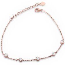 Rose Gold Plated Cubic Zirconia Bezel Set Silver Bracelet
