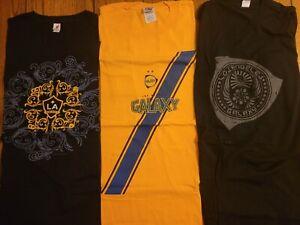 (3) Three New Vintage/SGA LA Galaxy Soccer Tshirts Large/XL Los Angeles 2006-08