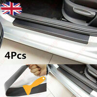 4pcs Car Carbon Fiber Door Sill Scuff Welcome Pedal Protect Sticker Accessories