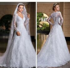 White/ivory Lace Long Sleeve Wedding Dress Bridal Gown + VEIL Size 6-22