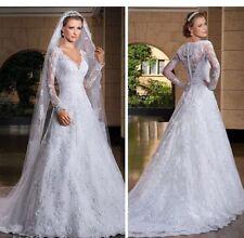 UK White/ivory Lace Long Sleeve Wedding Dress Bridal Gown Size 6-22