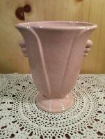 Vintage Pink Speckled Glazed Vase USA Pottery