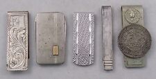 Sterling Silver Money Clip Lot of 5, Pocket Knife, Taxco Mexico Un Peso Coin