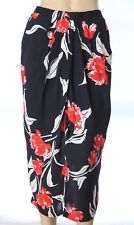 JACQUI-E Sz 8 Floral Viscose Wrap-Look Straight SKIRT Pockets, Navy, Red, White