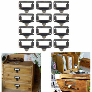 12pcs Brass Drawer Label Tag Pull Cabinet Frame Handle File Name Card Holders