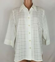 Allison Daley Petite Women's Size 14P White Blouse Sheer 3/4 Sleeve Button Front
