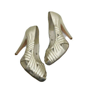 "Pronovias Women's White Bridal Heels shoes size 4"" heel made in Spain Leather 7"