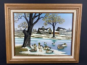 Signed H. Hargrove Landscape with ducks Serigraph On Canvas