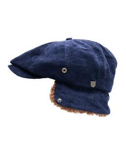 NWT Brixton M Med Mens Brood Corduroy Cap Flap Ears Driver Newsboy Hat Sherpa
