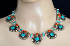 Ethnic sterling silver Necklace Asian fashion jewelry Turquoise stone  AZ13
