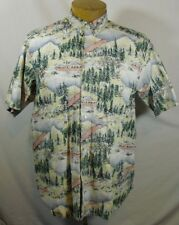 True Grit Reversible Print Outdoors Scene Canoes SS Mens Button up Sz L Large