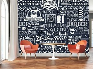Barber Shop Elements  Photo Wallpaper Wall Mural DECOR Paper Poster Free Paste