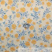 BonEful Fabric FQ Cotton Quilt VTG Cream Off White Blue Yellow Rose Flower Leaf