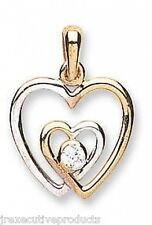 Heart Pendant Love Pendant Yellow and White Gold Heart Two Colour Gold