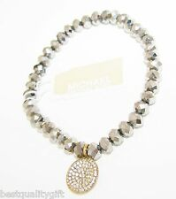 MICHAEL KORS STRETCH GUNMETAL BEAD BAND+GOLD CRYSTAL PAVE CHARM BRACELET MKJ2092
