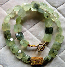 "Senegal ""gold"", Or du Pays Necklace with Gorgeous faceted natural prehnite"