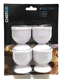 4 White Plastic Egg Cup Set For Great Presentation Boiled Eggs Kitchen Kids
