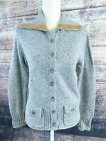 Eddie Bauer Wool Cashmere Blend Cardigan Sweater Womens Medium Gray Button Down