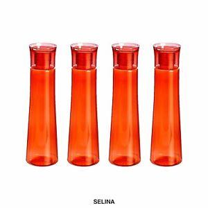 Plastic Fridge Refrigerator Water Bottle Set- 4 pieces, 1 L, Red