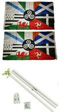3x5 Celtic Nations Irish Provinces 2ply Flag White Pole Kit Set 3'x5'