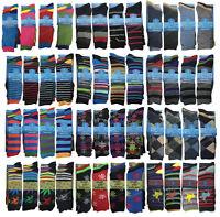 6 or 12 Pairs Designer Mens Socks Cotton Rich Lycra Formal Suit Socks UK 6-11