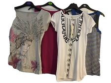 LADIES BUNDLE 4 VEST TOPS SLEEVELESS T-SHIRT PINK BLUE CREAM WHITE UK 10 SMALL
